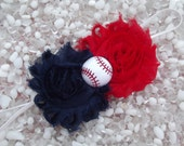 Cleveland Indians Shabby Chic Navy Blue & Red Double Flower Baseball Baby Headband -  Newborn - Infant - Toddler Girl Adult - Photo Prop