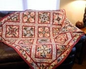 Handcrafted Floral Tablecloth Lap Quilt Couch Throw burnt orange peach creams blacks posy pattern peony
