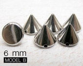 100pcs 6mm SILVER Acrylic Cone Spikes Beads Charms Pendants with hole