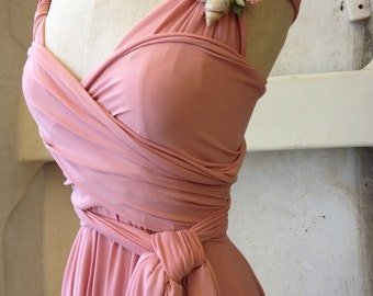 "Ready to Ship- Juniors, 36"" Length Dusty Rose-Long Octopus Infinity Convertible Wrap Gown"