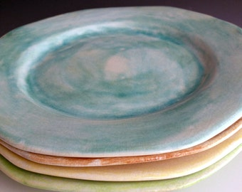 Handmade cut edge plates in pastel colors, Set of four, durable stoneware plates by Leslie Freeman