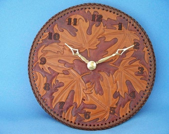 READY TO SHIP -  Leather Wall Clock - Maple Leaves -  8 Inch Diameter,   2-3 day delivery
