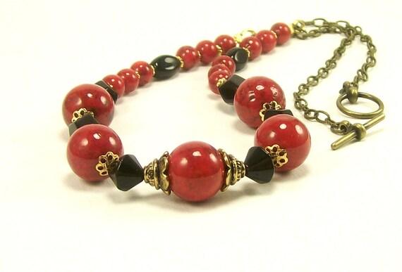 Gemstone Jewelry Necklace, Red Black Gold Necklace, Statement Necklace, Fashion Jewelry, Beaded Jewelry, Handmade Jewelry