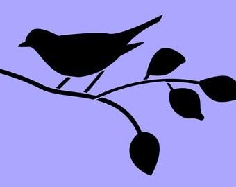 STENCIL Bird on Branch Silhouette 8x4.8