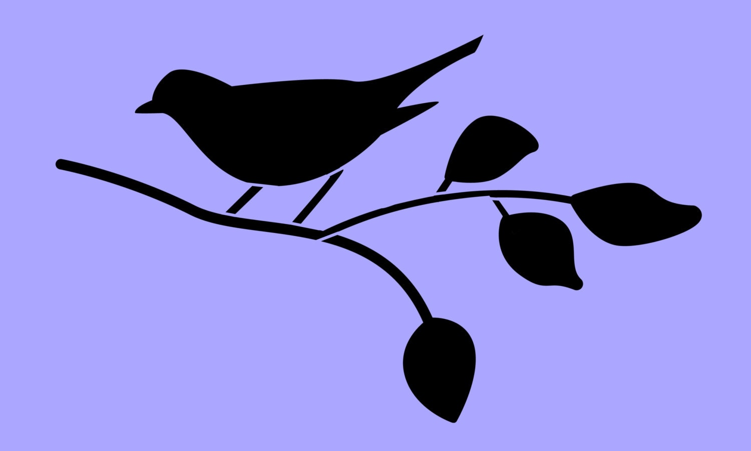 STENCIL Bird on Branch Silhouette 8x4.8