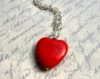 Red Heart Necklace-Heart Jewelry-Czech Glass Heart Pendant