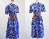 Vintage Polka Dot Dress, Silk Dress, Blue and White Dotted Dress, 80s Dress, Short Sleeve Dress, 1980s Shirtwaist Dress, Medium Large