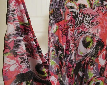 Ladies Long Modest  Abstract Print Stretch Jersey Knit Maxi Skirt for Missionary, Travel or Leisure Wear,  size small-medium.