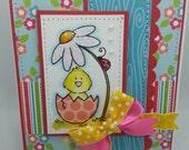 Handmade Card, Greetings, Gift, Easter - Easter Egg Chick
