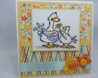 Mother's Day - Easter - Birthday - Get Well Ducks  - Handmade Card