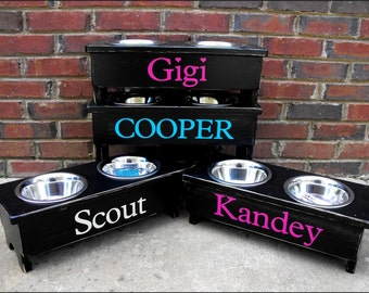 Raised Dog Bowl Stand Personalized  9''