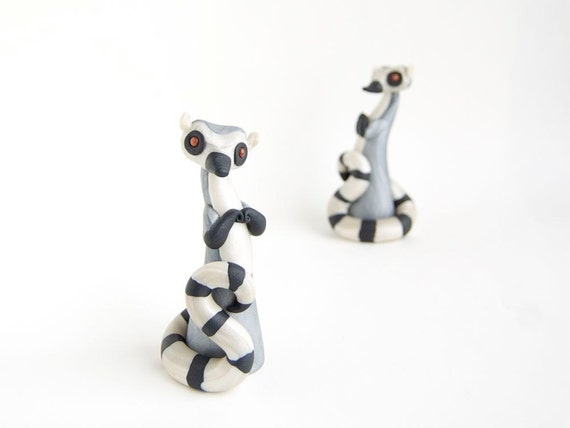 Lemur Sculpture - Ring-tailed Lemur Poupette by Bonjour Poupette