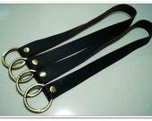 1 Pair of black high quality cow leather handbag handles purse straps with round gate ring handbag supplies