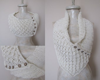 Button Knit Cowl, Knit Cape, Chunky Neckwarmer, Wrap Knit Cowl, Off shoulder Wrap, Chunky Knit Scarf, Wedding Capelet, Bridal Cape