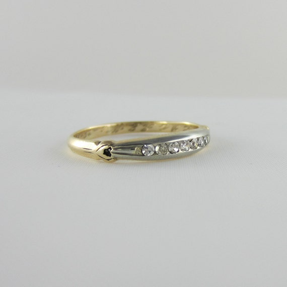 Art Deco Unique Diamond Wedding Ring 14k Two Tone Gold: Art Deco Diamond Wedding Ring. Two Tone Gold Ring With