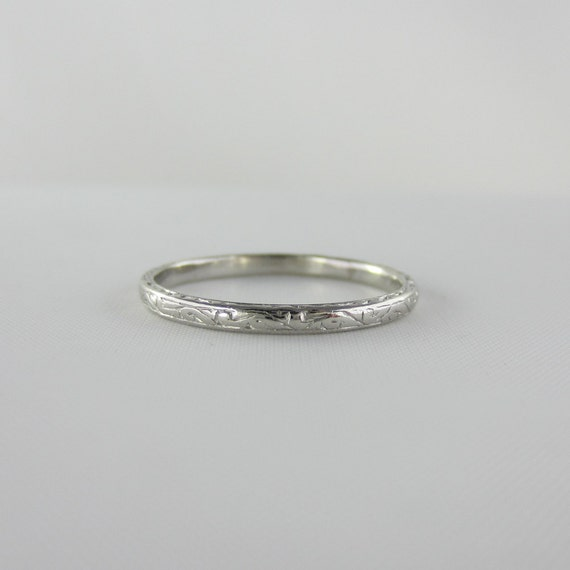 Narrow Platinum Wedding Ring. Engraved Design, Circa 1920s.