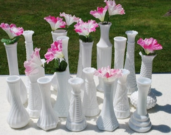 Collection of Twenty Vintage Milk Glass Bud Vases, Wedding Vases, Wedding Decor.