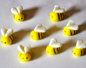 Bee Fondant Cupcake, Cake or Cookie Toppers- Edible- 1 DOZEN