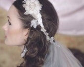 EDEN CROWN Ivory Lace Beaded and Tulle Veil Headband