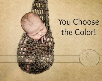 Hanging Newborn Baby Stork Sack - You Choose Color