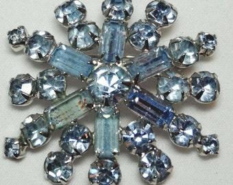 Topaz Blue Rhinestone Brooch Apparel & Accessories Jewelry Vintage Jewelry Brooch Rhinestone