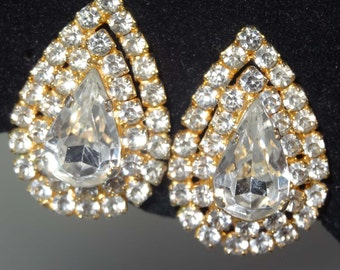 1960s Rhinestone Gold Plated Clip On Earrings Apparel & Accessories Jewelry Vintage Jewelry Earrings Clip On Rhinestone