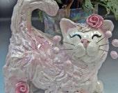 Creampuff Kitty- handmade ceramic sculpture