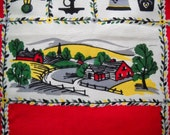 Vintage New Kitchen Towel Tea Farm House Print Sun Glo Hand or Dish Red 16 x 27""