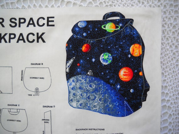 Backpack fabric panel outer space rockets solar system print for Space fabric panel