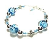 Lampwork Bead Bracelet, Blue Swirled Beads, White Rosettes, Sliver Beaded Bracelet, Art Glass, Lampwork Beads, Light Blue, Sterling Silver