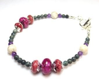 River Rock Bracelet, Pink and Green, Stone Beads, Mauve Rondelles, Purple Amethyst, Green Serpentine, Pink Jasper, Fuchsia, Large Bracelet