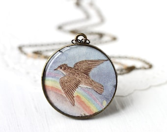 Bird Art Pendant Necklace - Brown Bird Over the Rainbow from Vintage Children's Storybook, Flying Spread Wings