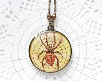 Spider Art Pendant Necklace Vintage Art, Round Pendant, Brown and Yellow Arachnid Halloween Jewelry Creepy Crawlie