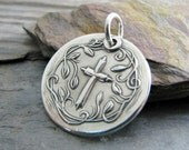Everlasting Faith, Artisan Fine Silver Pendant, Cross, Vines and Leaves, Personalized, Faith Jewelry