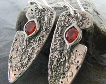 On Sale, Meteor Series No. 10, PMC Artisan Jewelry, Fantastically Textured Handmade Earrings, OOAK