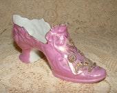 Victorian Atlantic City Souvenir China Shoe - Pink Luster