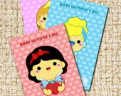 Printable Disney Princess Happy Valentines Day Mini Cards - Instant Download