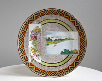 Antique Wedgwood Plate - Japanese Landscape and Peacock Polychrome Transferware Ceramic Dinner Plate - English c 1900 Asian Style Decor
