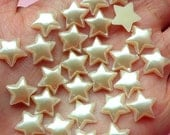 11mm Puffy Star Pearl / Pearlized Star Flat Back Faux Pearl Cabochons in CREAM WHITE (Around 30 pcs) PES60