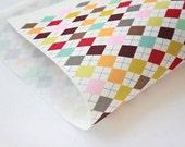 3 sheets Argyle check Prints on 2mm felt sheet on off white color