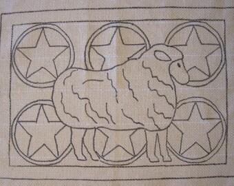 Prize Sheep primitve hooked rug pattern
