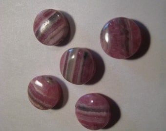 Rhodochrosite beads  ...     5  pieces ............          11 mm x 5 mm  ................     a557