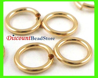 18 gauge 5mm 5.5mm 6mm 8mm 10mm open jump ring 14k yellow gold filled  round o ring GR50 51 55 56 58