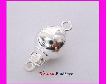 2x 8mm Sterling silver Round ball bead pearl Clasp  FC04