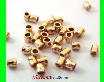 100pcs 2mm x 2mm 14k gold filled twisted crimp bead tube spacer Gs41
