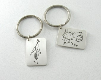 Your Child's Artwork on a Fine Silver Keychain.....Made to Order