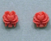 Rose Stud Earrings in Hot Pink 1960s  NEW OLD STOCK cSc 357