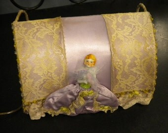 x Fabulous Lavender Satin Antique Bed Lamp with Ceramic Doll and Fanciful Ribbon Work accents (No.FF106)