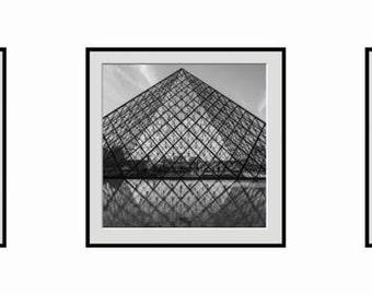 Paris Photography, Louvre Pyramid Triptych in Black and White, Fine Art Photography,  Paris Decor