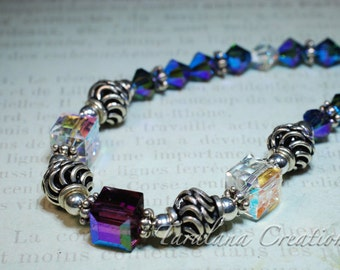 Swarovski Cube Necklace with with Sterling Silver Beads